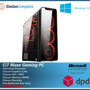CiT Blaze Intel Core Quad Gaming Computer WiFi SSD HDD 4/8GB RAM + 2/4GB Graphics Windows 10